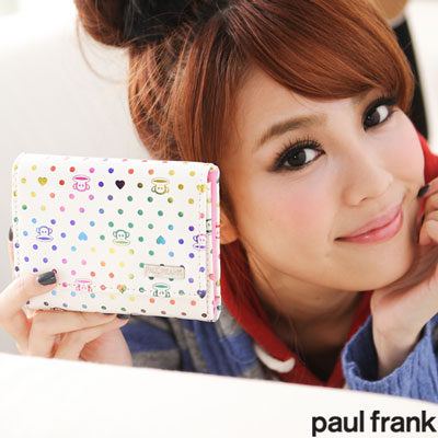【paul frank】Colorful Dots 漸層色皮夾系列-女中夾-白