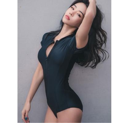 Biki比基尼妮泳衣 克提短袖連身泳衣比基尼拉鍊式(M-XL)