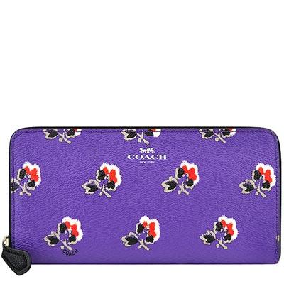 COACH 紫色馬車花朵圖樣PVC八卡長夾