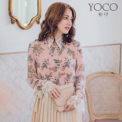 東京著衣 浪漫甜春瓣型蕾絲領袖滿版印花襯衫-S.M.L(共二色)