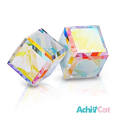 AchiCat 白鋼耳環耳針式 絢麗方塊(七彩夢幻)
