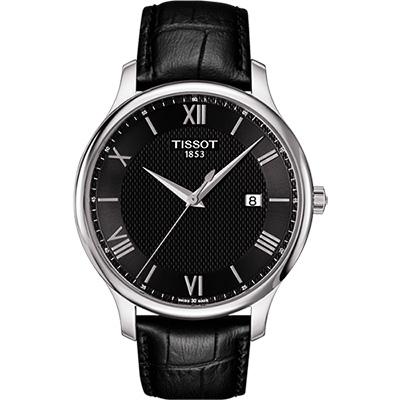 TISSOT Tradition 羅馬經典大三針石英腕錶-黑/42mm