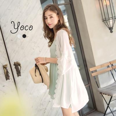 東京著衣-yoco 小法式蕾絲滾邊開襟長版外套(共二色)