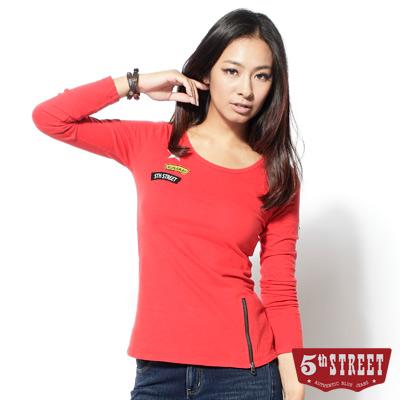 5th STREET 粗曠軍風 下襬拉鍊圓領長袖T恤-女款(桔色)