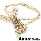 AnnaSofia 豹紋紗帶珠鍊 綁帶式腰鍊腰帶(駝豹淺橙珠)