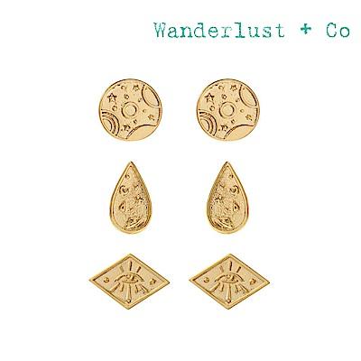 Wanderlust+Co 澳洲時尚品牌 GALAXY星月神話幾何耳環 金色三組