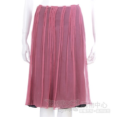 PHILOSOPHY 紫紅色抓褶紗質及膝裙