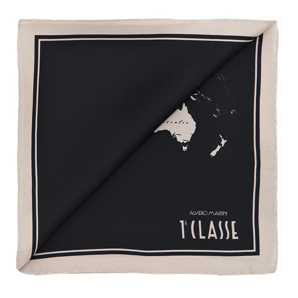 Alviero Martini 義大利地圖 經典地圖撞色絲巾(50X50)-黑/杏