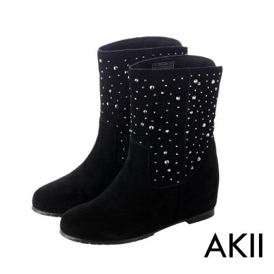 AKII韓國空運‧奢華水鑽真皮內增高短靴-黑
