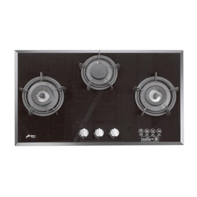 豪山牌 SB-3200 檯面式加寬型強化玻璃三口瓦斯爐