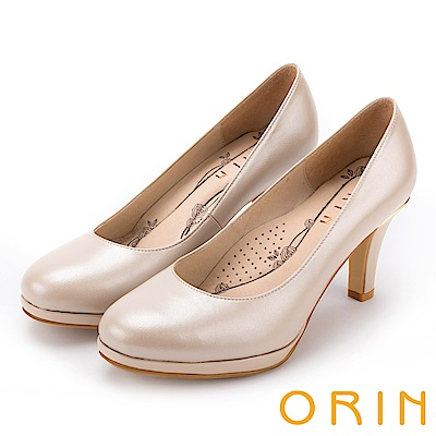 ORIN 典雅時尚女人 嚴選真皮質感素面高跟鞋-粉色