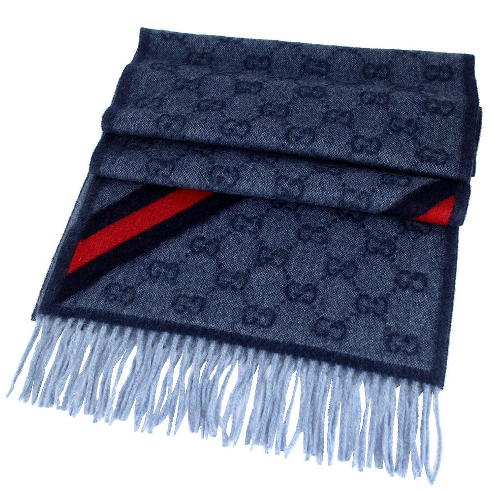 GUCCI 深藍色 LOGO 條紋安哥拉/羊毛混紡圍巾GUCCI