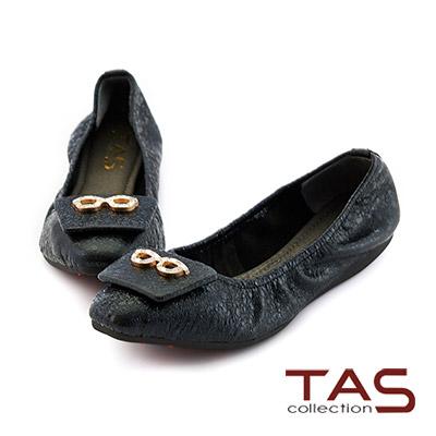TAS 水鑽小眼鏡抓皺娃娃鞋-都會黑