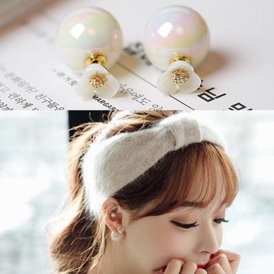梨花HaNA-無耳洞韓國溫柔想像貝殼花朵珍珠雙面耳