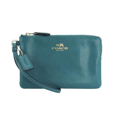 COACH-新款馬車防刮皮革L型手拿包-藍綠