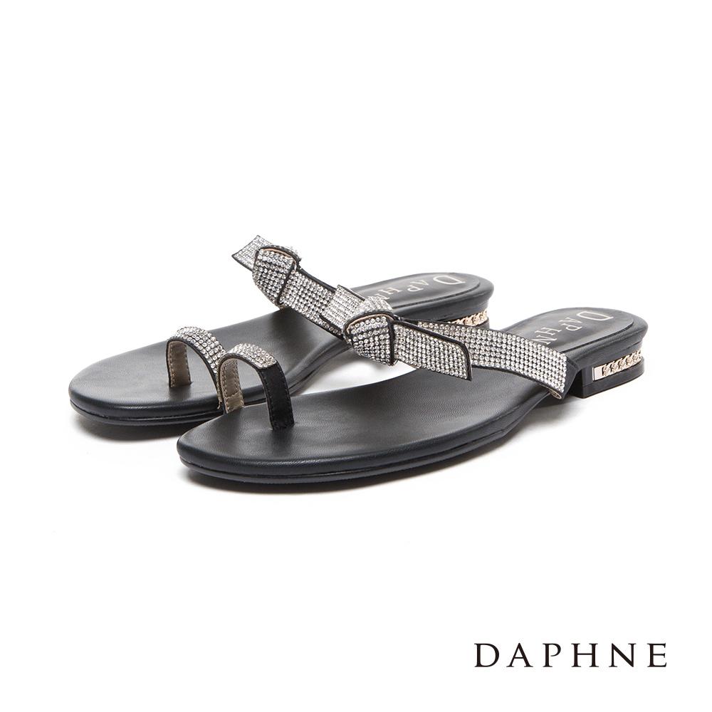 達芙妮DAPHNE 涼鞋-水鑽套趾蝴蝶結平底涼拖鞋-黑