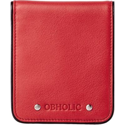 OBHOLIC 義大利軟牛皮革 跳色邊條設計 短夾 男夾 (紅黑)