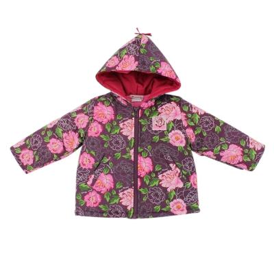 愛的世界 防風舖棉牡丹花長袖連帽外套 4~8歲