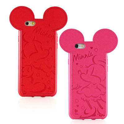 Disney iphone 6 plus /6s plus皮革耳朵造型手機殼-壓...