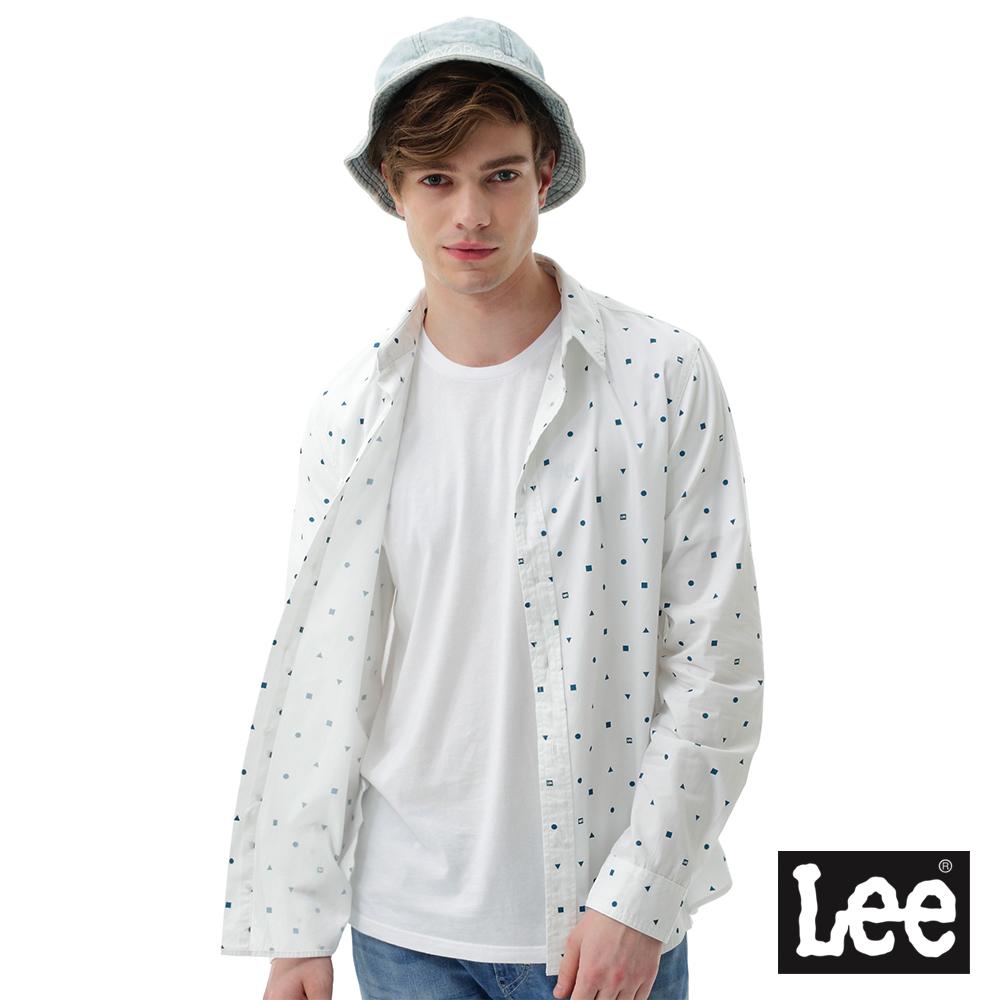 Lee 滿版印花長袖襯衫-男款-白色