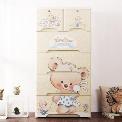 IDEA-50面寬Dear小熊五層玩具衣物DIY收