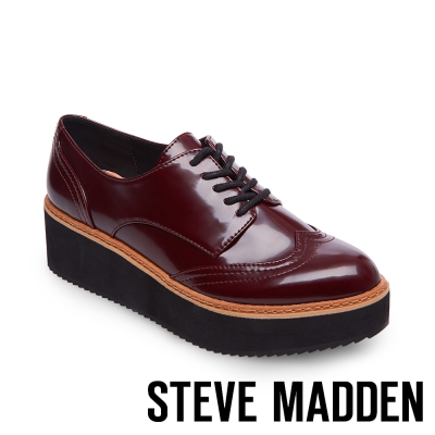 STEVE MADDEN-LYDIA-BURG PAT-漆皮牛津厚底鬆糕鞋-酒紅