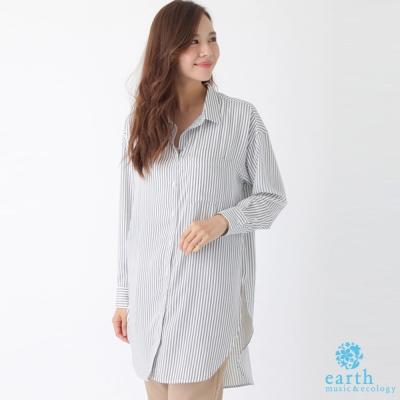 earth music 直條/素面側開衩長版襯衫上衣/洋裝