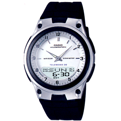 CASIO 都會時尚雙顯腕錶(AW-80-7A)-白/40mm
