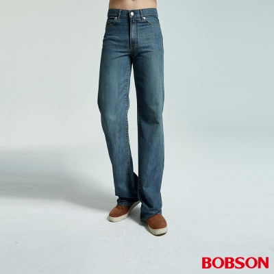 【BOBSON】男款小尻革命大直筒牛仔褲(中藍53)