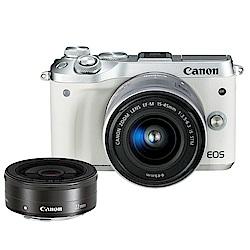 CANON EOS M6+15-45mm+EF-M 22mm 全新限量白 雙鏡組*(平輸)