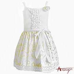 清夏可愛花瓣蕾絲吊帶平口洋裝*5119黃
