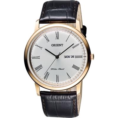 ORIENT 都會極簡羅馬石英腕錶-銀x玫瑰金框/40mm