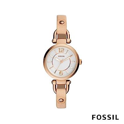 FOSSIL GEORGIA 細錶帶皮革女錶-沙色