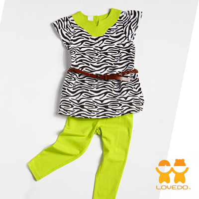 【LOVEDO-艾唯多童裝】亮麗斑馬紋 短袖長褲兩件組套裝
