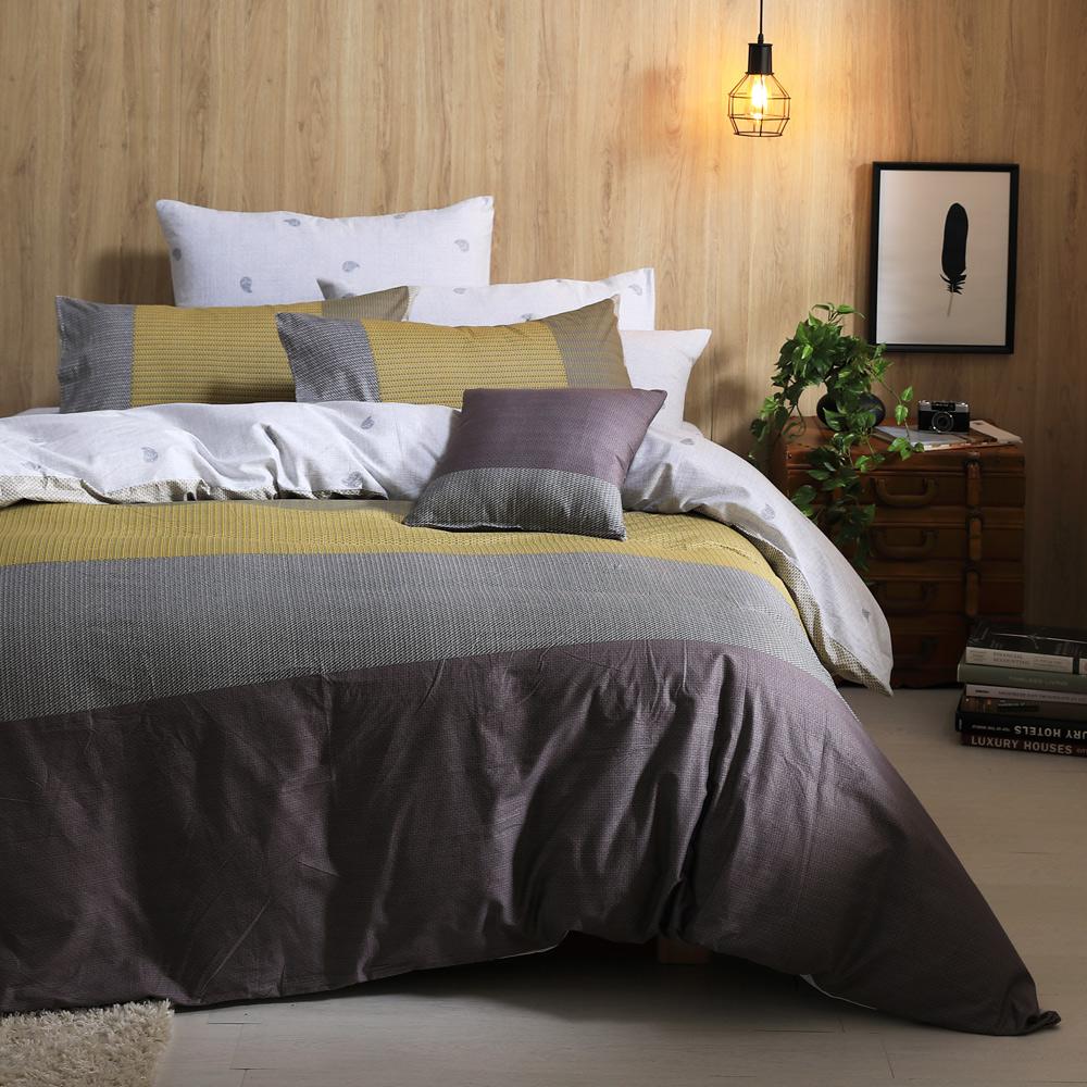 GOLDEN-TIME-珍藏的明信片-100%純棉兩用被床包組(雙人)+贈1被1毯