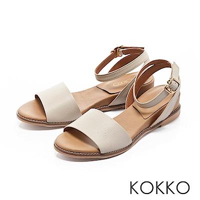 KOKKO-慵懶渡假繫帶寬版真皮涼鞋-雛菊白
