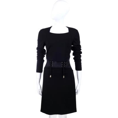 VERSACE 黑色抽繩造型長袖洋裝