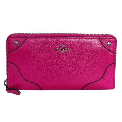 COACH-桃紅荔枝紋全皮鉚釘貼飾拉鍊長夾