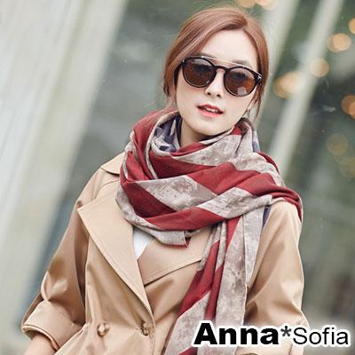 AnnaSofia 美國旗染印 拷克邊韓國棉圍巾披肩(褐駝系)