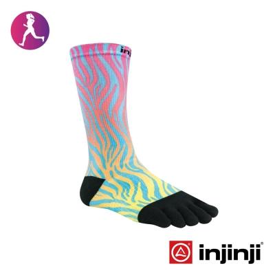 【Injinji】RUN女性輕量吸排五趾中筒襪-橘藍紋