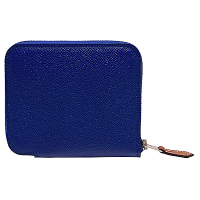 HERMES 經典silk in系列EPSOM小牛皮拉鍊絲巾零錢包(電光藍)
