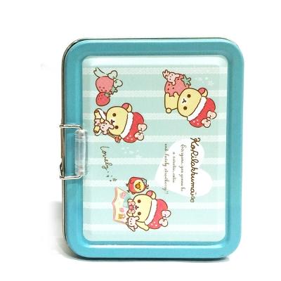 日本拉拉熊草莓牛奶熊(綠)兩層名片收納小鐵盒