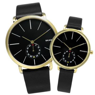 SKAGEN Hagen 簡約俐落曲線輕薄真皮腕錶-黑x金框/40mm+34mm