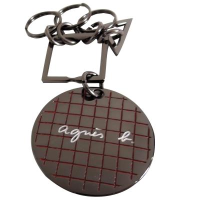 agnes b.幾何圓牌鑰匙圈(黑)
