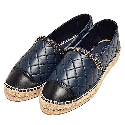 CHANEL 經典Espadrilles菱格車紋金鍊裝飾羊皮鉛筆鞋(藍X黑)