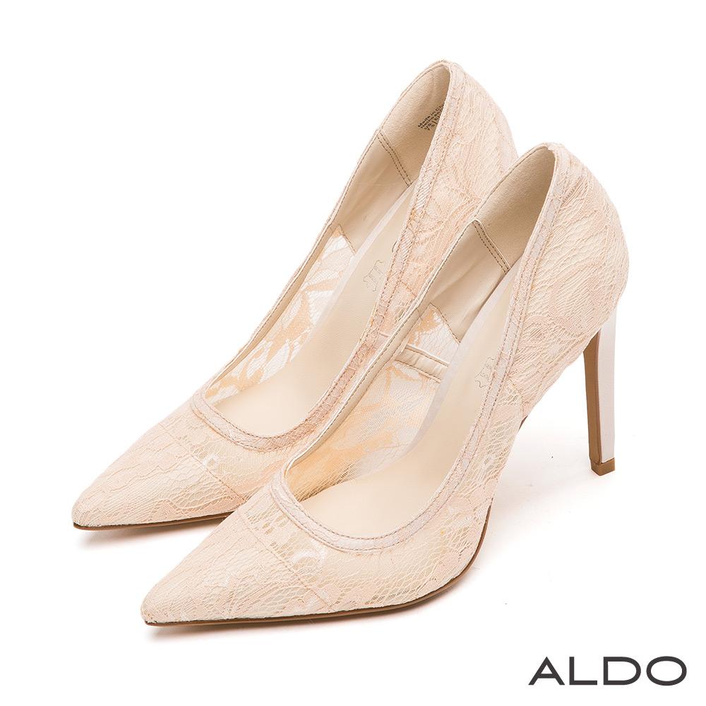 ALDO 優雅性感蕾絲緹花面料尖頭細高跟鞋~柔情粉