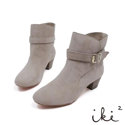 iki2率性風尚-真牛麂皮拼接金屬釦環粗木跟西部高跟踝靴-甜紫藕