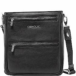 OBHOLIC 黑色牛皮肩背包手拿包 (直款)
