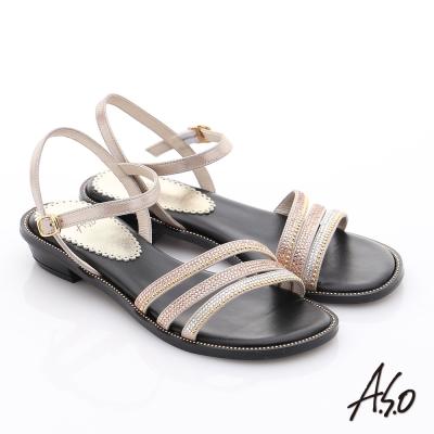 A.S.O 完美涼夏 真皮閃亮鑽飾細條帶涼鞋 粉橘