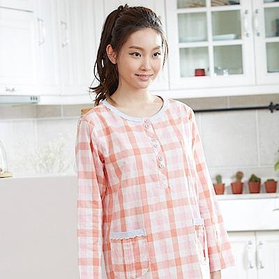 華歌爾睡衣 英倫格紋印花居家服 M-L 圓領裙裝 (紅橘)